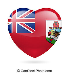 Heart icon of Bermuda - I love Bermuda. Heart with flag...