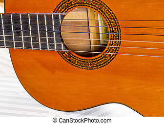 Body of a six string clasical guitar - Guitar sound hole and...