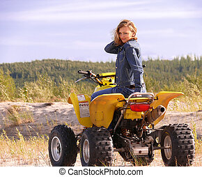 Dyakova Helen on quadrocycle. - Beautiful blonde on sport...