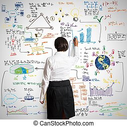 Modern business concept - Businesswoman draws sketch of...