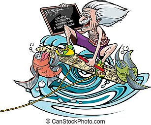 Wakeboard Genius - Cartoon of a cartoon Einstein on a...