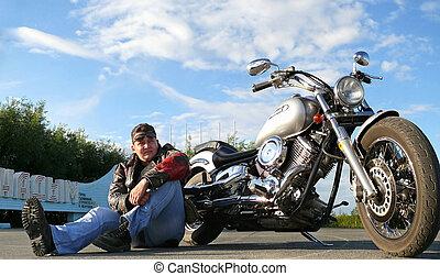 Biker Klimenko Oleg - Nadym, Russia - August 3, 2007:...