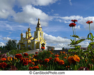 Nadym. Orthodox temple. - Nadym. The Orthodox temple with...