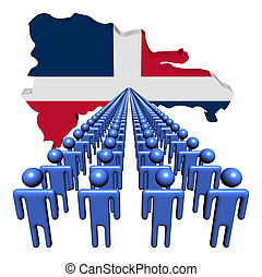 Lines of people with Dominican Republic map flag illustration
