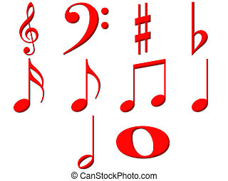 3D Music Notes - 3d music notes isolated in white