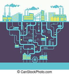 industria, Plano de fondo, impresión