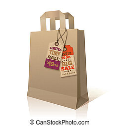 Paper shopping bag with promotion tags