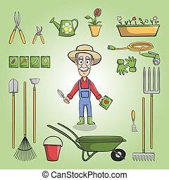 Happy gardener charactor set