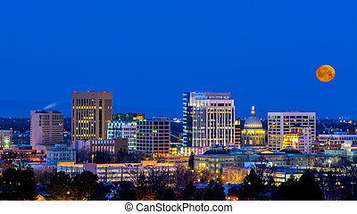 Blue night sky over Boise Idaho with moon - Boise Idaho...