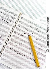 Clasic wooden pencil with written music - Hand written sheet...