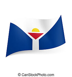 Flag of Saint Martin - Unofficial flag of Saint Martin White...