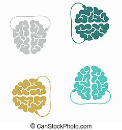 seamless background: brain, usb, plug