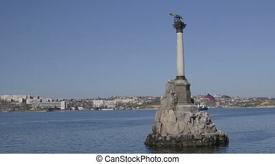 Russian flag on Sunken Ships Monument in Sevastopol -...