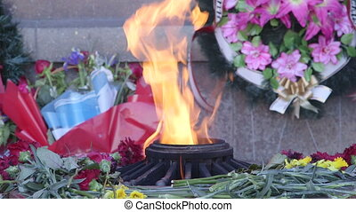 Eternal flame burning at Memorial to the Heroic Defense of...