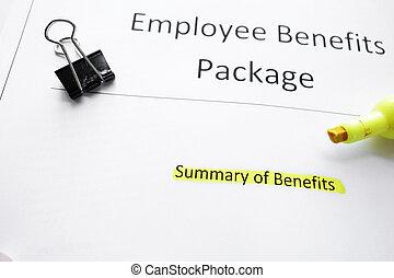 benefícios, pacote
