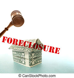 dollar foreclosure house and gavel
