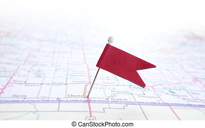 pin flag - Closeup of red pin flag on a map...