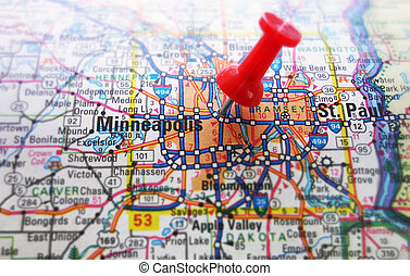 Minneapolis - Red tack in a map of Minneapolis, Minnesota...