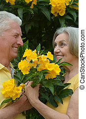 happy elderly couple - Portrait of happy elderly couple with...