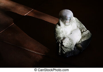Buddha Statue in Afternoon Light - Concrete Buddha Statue in...
