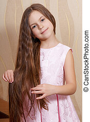 cabelo, pequeno, menina, longo