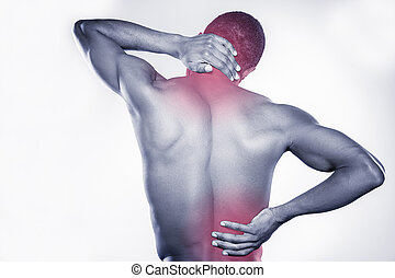 Joint pain. Rear view of young muscular African man touching...