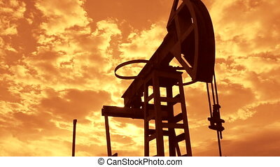 Oil production - pumpjack in motion - Oil industry equipment...