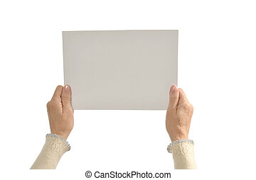 Hands holding paper - Woman Hands holding paper isolated on...