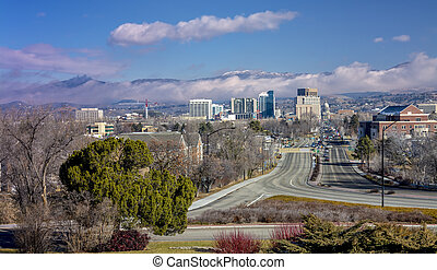 Idaho capital and Boise city - Foggy view of the city of...