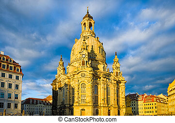 Frauenkirche in Dresden, Germany - Frauenkirche in evening...