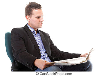 Businessman reading a newspaper isolated - businessman...