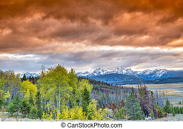 Dramatic orange sky over Idaho mountains - Sunset over the...
