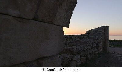 Dolly: Ancient Ruins of Tauric Chersonese at Sunset -...