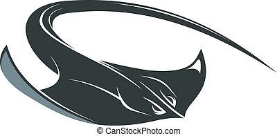 Swimming manta or sting ray