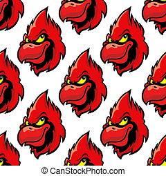 Cardinal bird seamless pattern background in cartoon style
