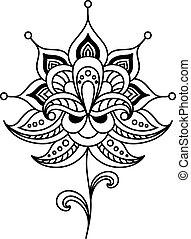 Calligraphic floral design element