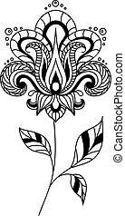 Retro paisley floral element isolated on white in persian or...