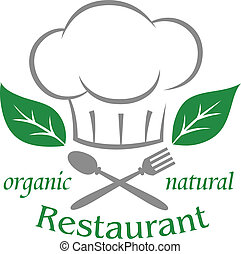 Organic natural restaurant icon with a chefs toque or hat...