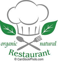 organique, naturel, restaurant, icône