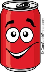 Red cartoon soda or soft drink can with a smiling face...
