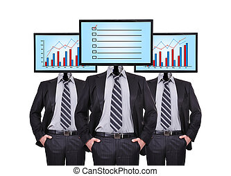 checklist - three businessman standing and monitor with...