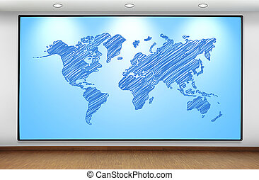 world map - big plasma panel with world map on wall