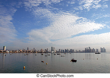 Modern Panama city coastline - wide angle picture of the...