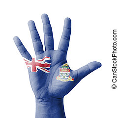 Open hand raised, multi purpose concept, Cayman Islands flag...