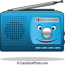 Happy retro transistor radio - Happy retro blue portable...