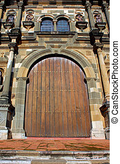Cathedral door in Panama city Senora de la Asuncion - wide...