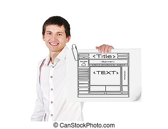 young guy holding poster with template website