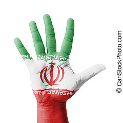 Open hand raised, multi purpose concept, Iran flag painted -...