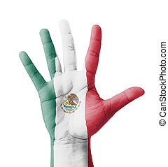 Open hand raised, multi purpose concept, Mexico flag painted...