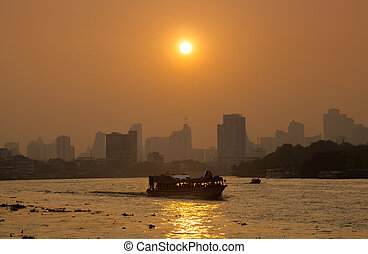 Boat traffic on the river, Bangkok city - Boat traffic on...